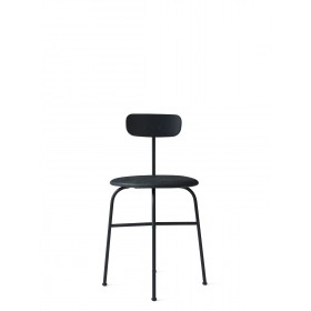 Menu Afteroom Dining Chair 4 Black Base Upholstered with Sørensen Leder Antrazit Esszimmerstuhl