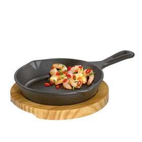 Küchenprofi BBQ Grill-/Servierpfanne rund mit Holzbrett 26 x 18 x 6cm