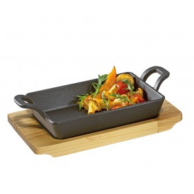 Küchenprofi BBQ Grill-/Servierpfanne eckig mit Holzbrett 21,5 x 12,5 x 6cm