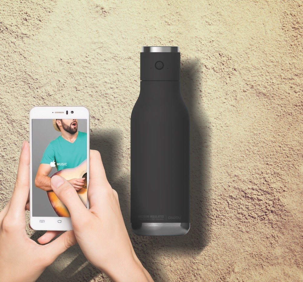 ASOBU WIRELESS Isoliertrinkflasche mit integriertem Lautsprecher BT60 BLACK