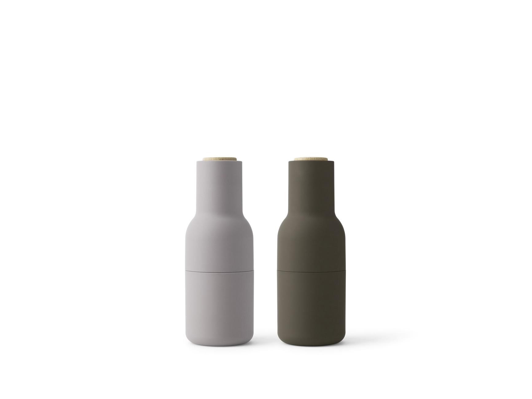 Menu Bottle Grinder Hunting Green Beige mit Walnussrad 2er SET Salz- und Pfeffermühle
