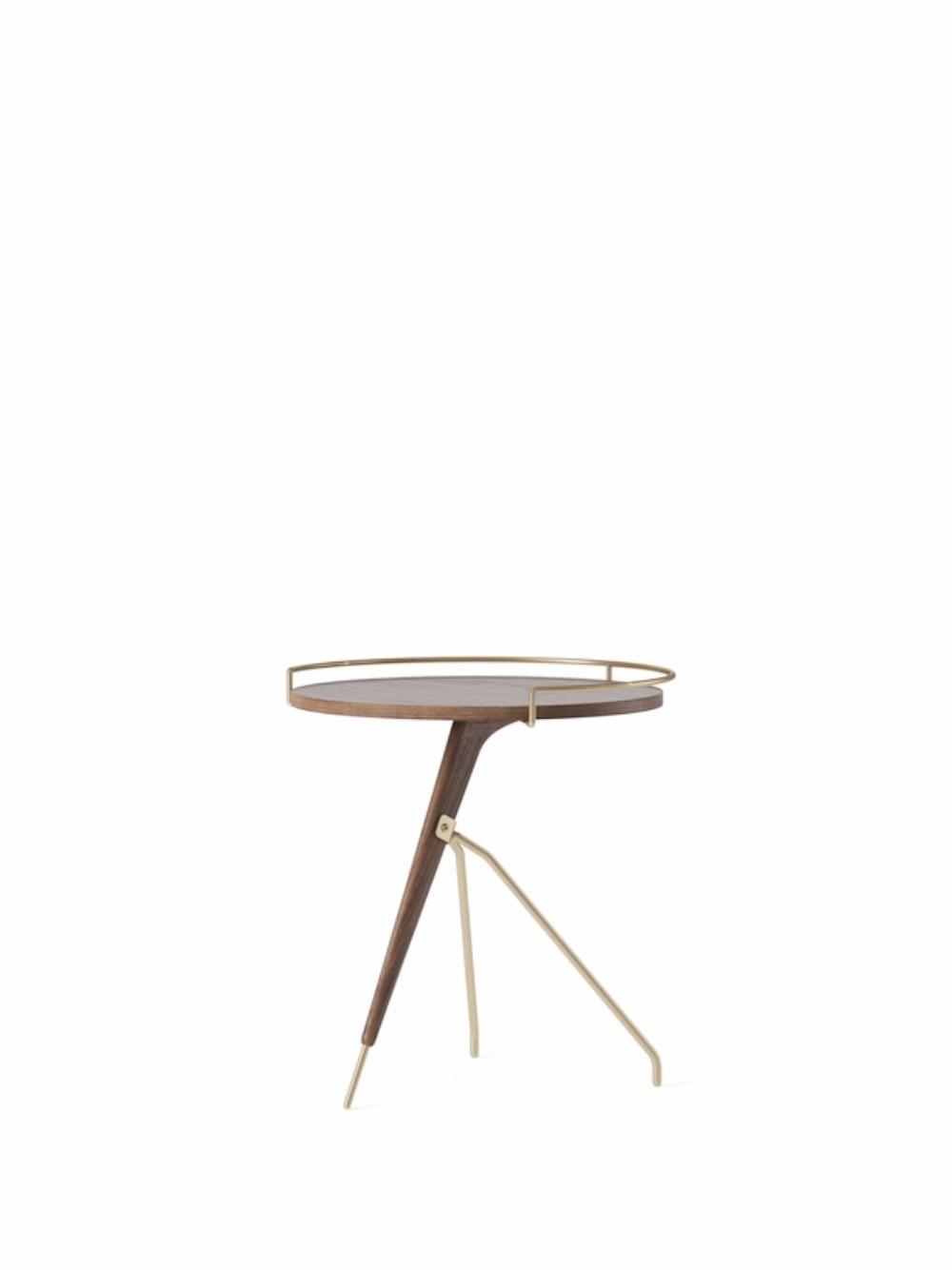 Menu Umanoff Side Table 45cm Low Solid Walnut Base and Top Matt Lacquered Brass Beistelltisch