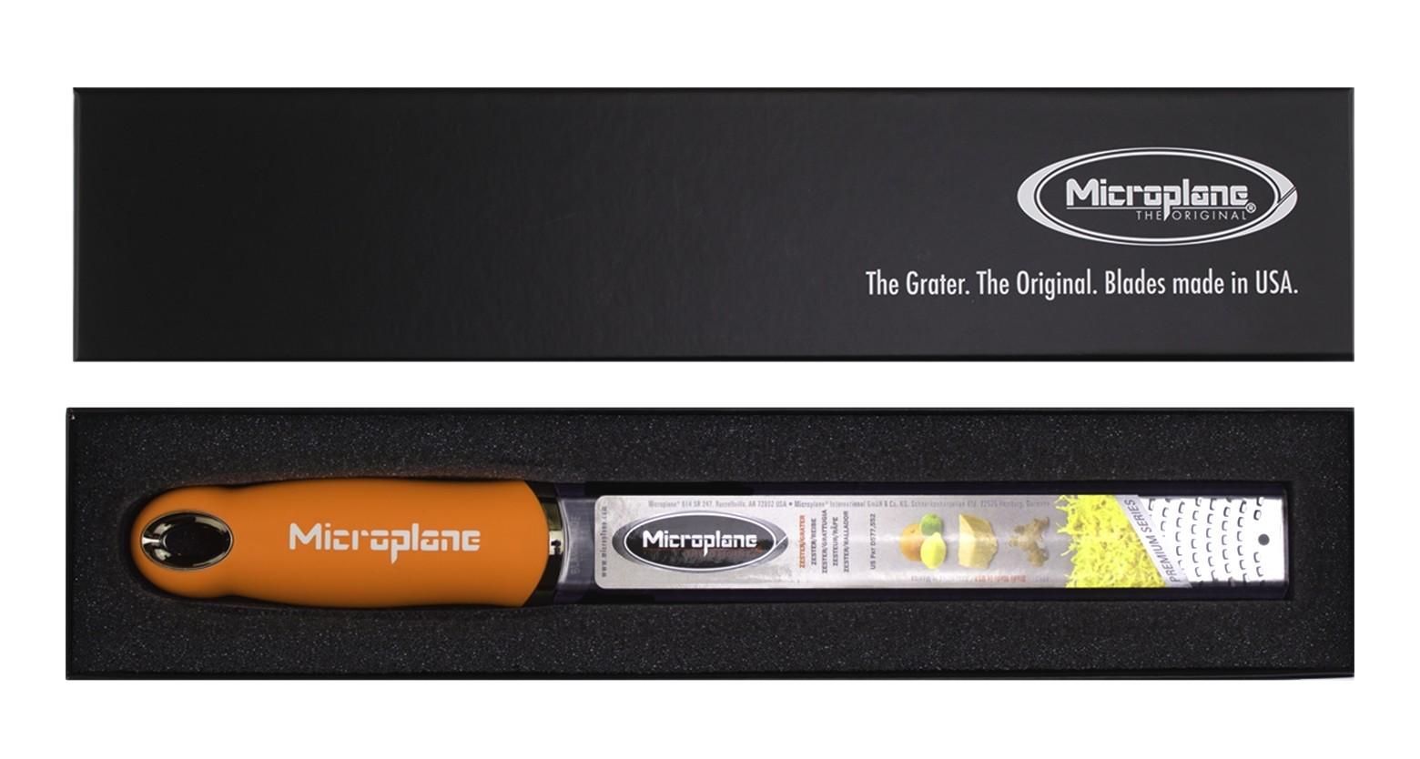 Microplane PREMIUM CLASSIC Zester Reibe orange inkl. Geschenkbox und 1C Druck auf Griff