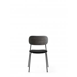 Menu Co Chair Dining Chair Black Steel Base Textile Icon Seat and Back Black Oak Esszimmerstuhl