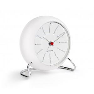 Arne Jacobsen Bankers Tischuhr mit Alarmfunktion weiß Ø11cm