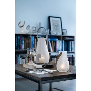 Holmegaard Design with Light Laterne mit Lederhenkel klar 45cm