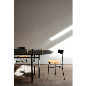 Menu Afteroom Dining Chair 4 Black Upholstered with Sørensen Leder Cognac Esszimmerstuhl
