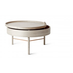 Menu Turning Table White Oak/Black Chrome Beistelltisch
