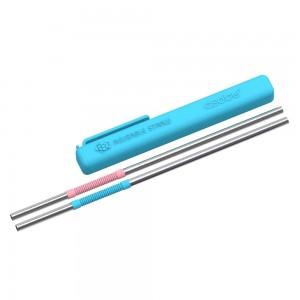 ASOBU RE-USABLE STRAWS Trinkhalm PS/2 BLUE/PINK