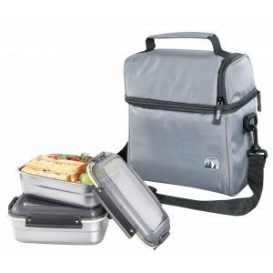 Cilio Isoliertasche ROCCA mit Lunchboxen grau
