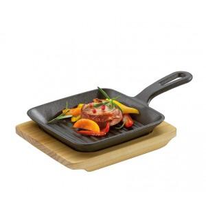 Küchenprofi BBQ Grill-/Servierpfanne mit Holzbrett 23 x 13,5 x 5,5cm