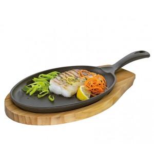 Küchenprofi BBQ Grill-/Servierpfanne oval mit Holzbrett 39 x 20 x 5cm