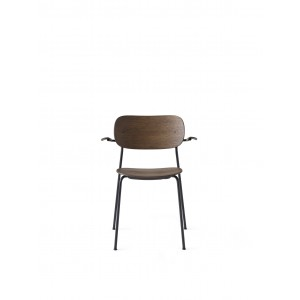 Menu Co Chair Dining Chair Black Steel Base Dark Stained Oak Seat and Back Esszimmerstuhl mit Lehne