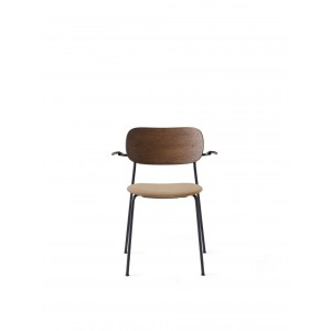 Menu Co Chair Dining Chair Black Steel Base Hot Madison Reloaded Seat and Back Dark Stained Oak Esszimmerstuhl