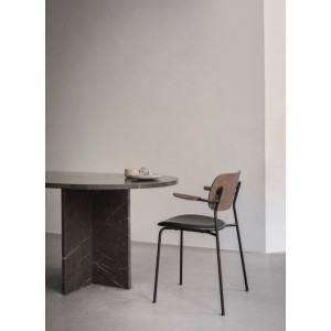 Menu Co Chair Dining Chair Black Steel Base Leather Dakar Black Oak Back Esszimmerstuhl