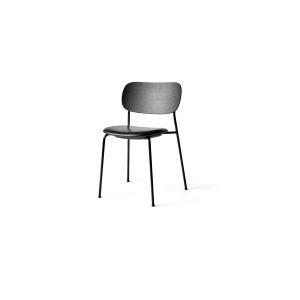 Menu Co Chair Dining Chair Black Steel Base Leather Dakar Seat and Back Black Oak Esszimmerstuhl