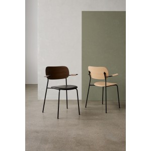 Menu Co Chair Dining Chair Black Steel Base Leather Dakar Seat and Back Dark Stained Oak Esszimmerstuhl