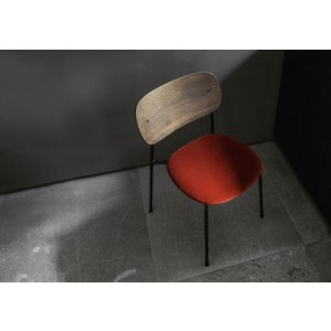 Menu Co Chair Dining Chair Black Steel Base Textile City Velvet Seat Dark Stained Oak Back Esszimmerstuhl