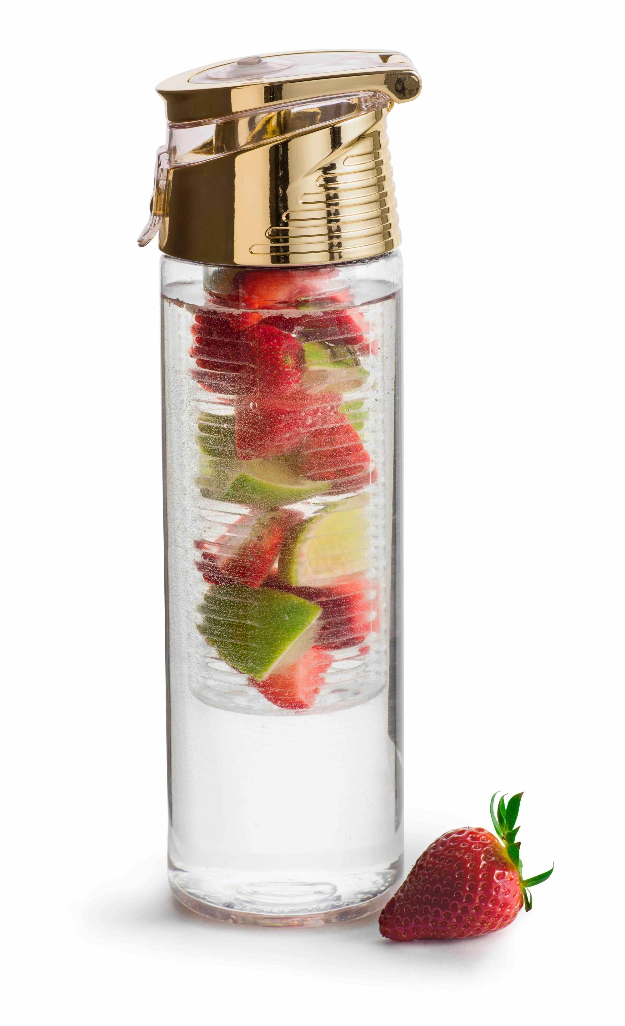 sagaform fresh trinkflasche neu mit fruchteinsatz gold to go freizeit fitness. Black Bedroom Furniture Sets. Home Design Ideas
